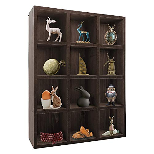 12 Compartment Dark Gray Wood Freestanding or Wall Mounted Shadow Box, Display Shelf Shelving Unit