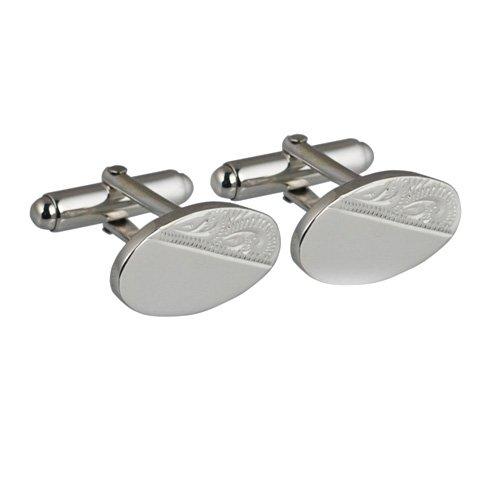 Boutons de manchette engravel pivotantes ovale moitié de la main de 12x19mm Argent