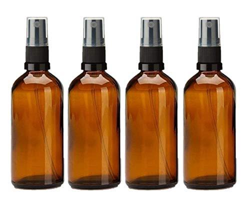 Avalon 100ml Amber glazen flessen met zwarte verstuiver Spray ~ Pack van 4 ~ navulbaar, herbruikbaar en reisformaat ~ perfect voor aromatherapie, parfums, etherische oliën, aftershaves en meer