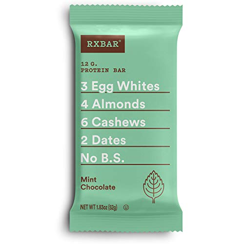 RXBAR, Mint Chocolate, Protein Bar, 1.83 Ounce (Pack of 12), High Protein Snack, Gluten Free