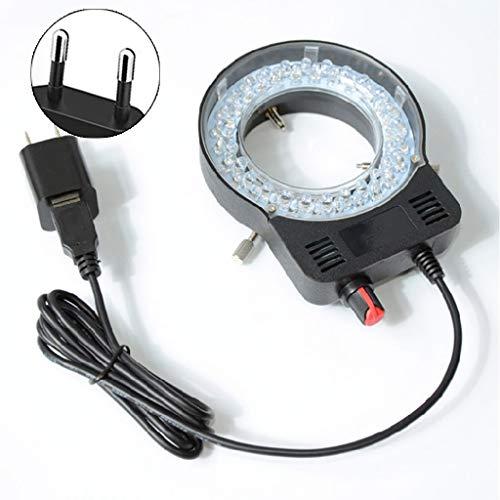 HUIJUAN Lámpara de microscopio Cilindro único Microscopio estéreo binocular Lámpara de anillo Anillo integrado Fuente de luz Brillo Centro ajustable Proyector USB