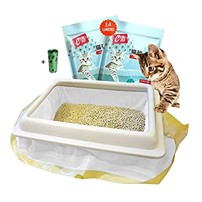 Moliwen Cat Litter Tray Liners with Drawstrings Filter Bags 2 Pack (14 bags), 91.5 × 45.7 cm for Medium and Large Litter Box, Get Extra 1 Roll (15 Bags) of Pet Garbage Bag