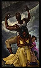 Behind Every Great Man by Kevin WAK Williams Framed African American Religious Family Art Picture, Finished Size: 15x21