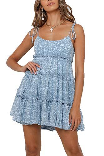 CHYRII Floral Printed Summer Dress Cami Sleeveless Shirred Back Ruffle Boho Dress for Women Above Knee Blue XL