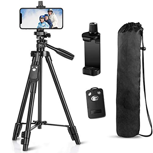 Phone Tripod, Eocean 50 Inch Aluminum Travel/Camera/Phone Tripod Stand, Compatible with iPhone/Samsung/Huawei Cell Phone/DSLR Camera/GoPro with Universal Phone Mount and Carry Bag