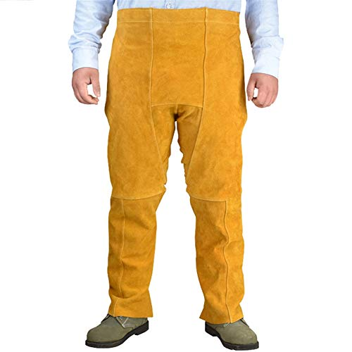 Oncefirst Welding Safety Chaps Leather Apron Style Adjustment Split Leg Fire & Wear Resistant Safety Apparel Yellow One Size