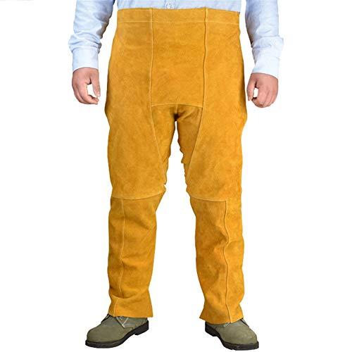 Insun Pantalones de Cuero para Soldador Pantalones de Trabajo de Seguridad Estilo Delantal Resistente a las Llamas Amarillo Un tamaño