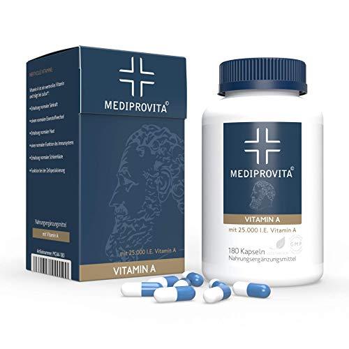180 Kapseln VITAMIN A 25000 I.E (7500µg) Extra Hochdosiert keine Tabletten Premium Qualität von MEDIPROVITA