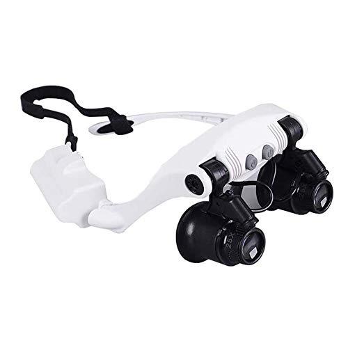 FZYQY Gafas Lupa con 2 LED Luz Manos Libres Cabeza Lupas de Aumento,4 Lentes Reemplazables(10X 15X 20X 25X) para Leer,de Reparación Relojes,Costura,Manualidades