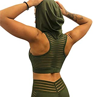 BEESCLOVER Hooded Sports Vest Back Mesh Running Yoga Vest Women Fitness Gym Sportwear Breathable Workout Clothing Mujer Yoga Top