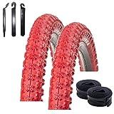 maxxi4you - Juego de 2 neumáticos para bicicleta Kenda K-51 BMX de 20 pulgadas, color rojo 58-406 (20 x 2,25) + 2 cámaras a juego AV, incluye 3 desmontadores de neumáticos