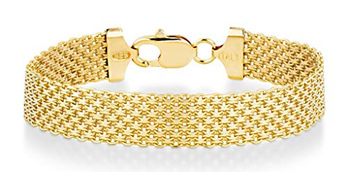 Miabella Solid 18K Gold Over Sterling Silver Italian 12mm Mesh Link Chain Bracelet for Women Men, 6.5, 7, 7.5, 8 Inch 925 Made in Italy (6.5 Inches (5.5'-5.75' wrist size))
