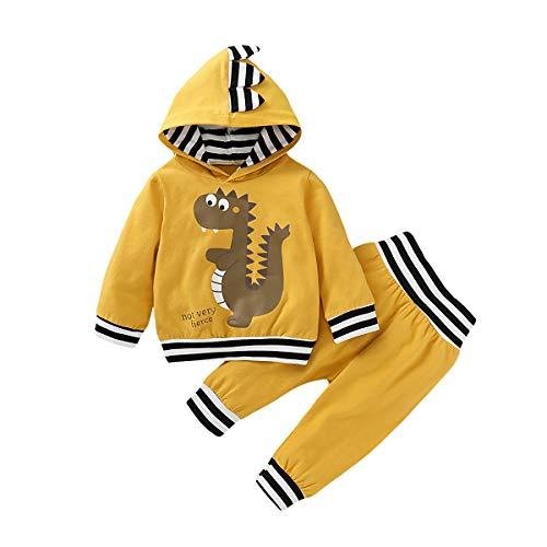 Neugeborenes Baby Jungen Kleidung Outfits Dinosaurier Print Streifen Manschette Pullover Hosen Set Gr. 62, gelb