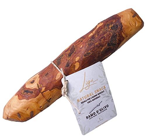 Ligo-ramo di olivo, giocattolo morditore per cani, naturale al 100%, ideale per l'igiene dentale (L 221-450 gr)