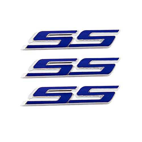 CARRUN 3pcs small Tilt SS Emblems Auto Trunk Door Fender Bumper Badge Decal 3D ABS Sticker Suitable for Chevy IMPALA COBALT Camaro 2010-2015 (Blue)