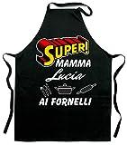 Colorfamily Grembiule da Cucina Personalizzabile con Nome Mamma ai fornelli - Grembiule Simpatico - Idea Regalo