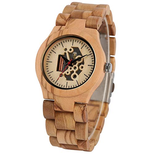 Reloj de Madera con Banda, Reloj de Pulsera,Madera de Arce, Relojes Casuales para Mujer, Reloj de Madera con Cierre Plegable