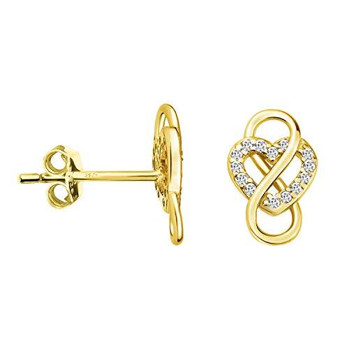 SOFIA MILANI - Orecchini da Donna in Argento 925 - Placcati in Oro e con Pietra Zircone - Orecchini a Perno a Cuore Infinito - 20910