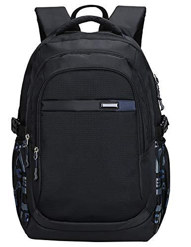 Kinder Junge und Mädchen Schulrucksack Schultasche Nylon Schulranzen Sportrucksack Backpack (Schwarz)
