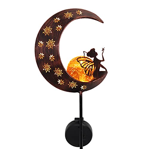 TERESA'S COLLECTIONS 39 inch Fairy Sitting on Moon Solar Stake Lights Garden Decor, Metal Angel Crescent Moon Lawn Ornaments with Crackle Glass Ball for Outdoor Outside Patio Yard Decorations