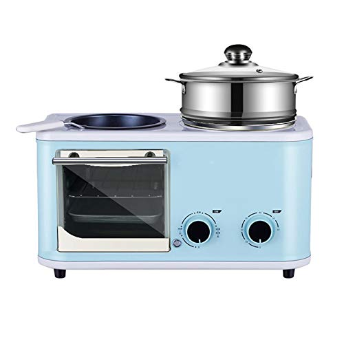 Wgwioo Mini Horno Tostador Multifuncional, Máquina De Desayuno 4 En 1, Mini Máquina De Desayuno Multifunción para El Hogar,Azul