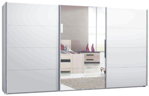 Switch Armadio con ante scorrevoli in diverse misure, 2 o 3 porte, colore bianco opaco, frontale: specchio e bianco opaco (400 cm)