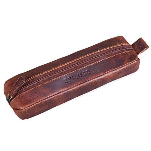 STILORD 'Quinn' Astuccio in pelle vintage Portapenne cuoio con cerniera grande Porta matite penne pennelli da donna uomo, Colore:kara - cognac