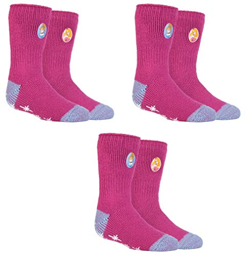 HEAT HOLDERS 3 Paar Mädchen Thermo-Slipper Grip-Socken mit Aufschrift, Größe UK 12½-3½ EUR 31-36, 3 Pairs Disney Princess