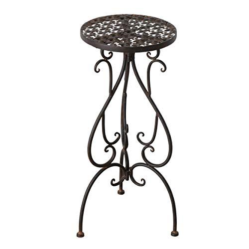 Metall Beistelltisch rund - ca. 59x26 cm - moderner Rostlook antik Blumenständer Blumenhocker Pflanzentopfständer für Innen und Außen