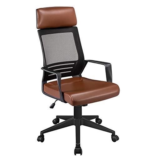 Yaheetech Height Adjustable Office Chair Executive Desk Chair Swivel Chair with Confortable Lumbar Support Brown