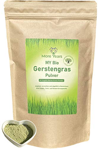 More Years MY Bio Gerstengras Pulver + deutscher Anbau + nachhaltiges Produkt + Rückstandskontrolliert + hohe Vitalstoffdichte + 500g + Baum gepflanzt