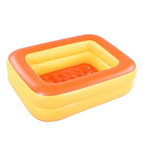 HIWENA Inflatable Kiddie Pool, 45' Orange Kids Swimming Pool Summer Water Fun Bathtub with Inflatable Soft Floor