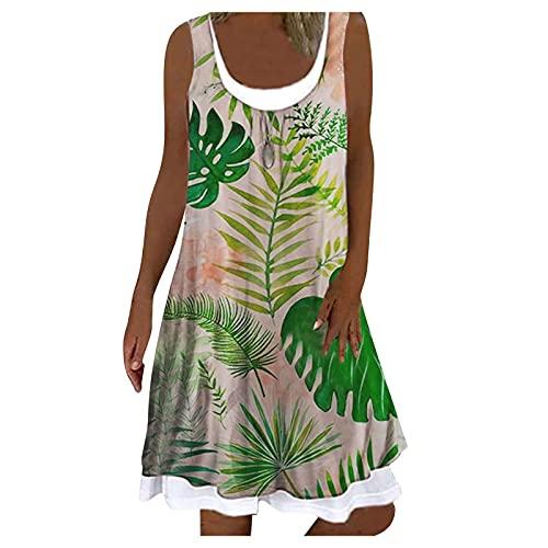 riou Vestidos Verano Mujer Elegantes,Vestido de Rayas Mujer sin Mangas, Hasta la Rodilla Vestido Bohemio de Una LíNea con Cuello en U Vestidos Casuales de Playa Mini Vestido Suelto