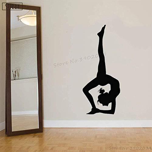 Adhesivo de vinilo extraíble para pared, estudio de Yoga, Fitness, gimnasio, adhesivo para chica, dormitorio, arte deportivo, bailarina, pegatina de ventana india 42X100Cm