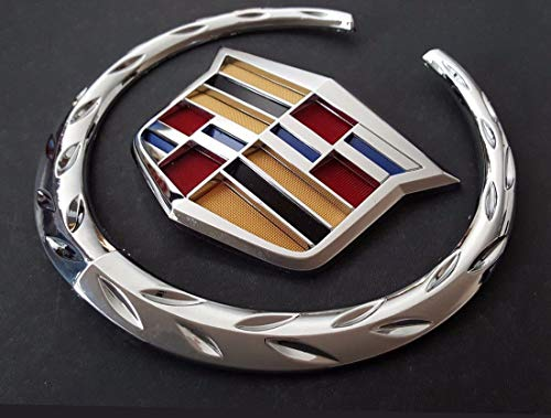 6'' Front Grille Emblem Wreath Crest Badge Logo fit for Cadillac (Silver)
