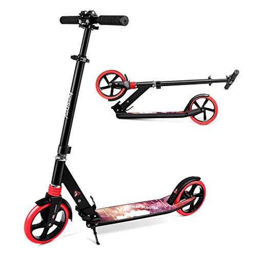 besrey Scooter Kickscooter Tretroller Klappbar Höhenverstellbar Roller für Erwachsene Kinder Teenager ab 8 Jahren City Roller mit 200MM Big Wheel - Rot