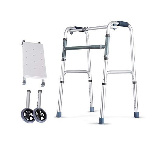 OCYE Walking walker met trekker en wielen, opvouwbaar medisch loopframe voor ouderen, geschikt voor ouderen en gehandicapten