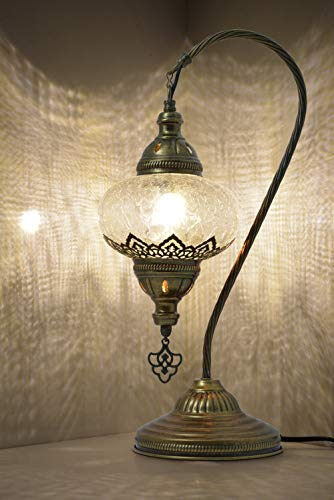 MOZAIST Turkish Lamp, Swan Neck Mosaic Table Lamp, Moroccan Decorative Glass Antique Bohemian...