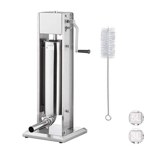 Relaxdays Wurstmaschine 7 Liter, 304 Edelstahl, manuell, 5 Füllrohre, professionelle Gastro Wurstfüllmaschine, silber