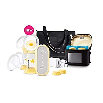 Medela Freestyle Flex Breast Pump with Bonus 100 Breast Milk Storage Bags Closed System Quiet Handheld Portable Double Electric Breastpump Mobile Connected Smart Pump with Touch Screen LED Display