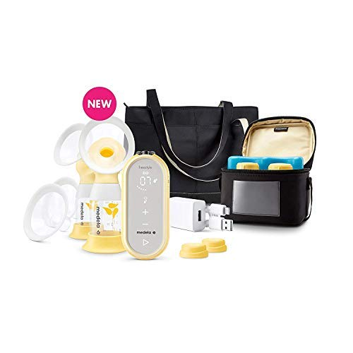 Medela Freestyle Flex Breast Pump with Bonus 100 Breast Milk Storage Bags, Closed System Quiet Handheld Portable Double Electric Breastpump, Mobile Connected Smart Pump with Touch Screen LED Display