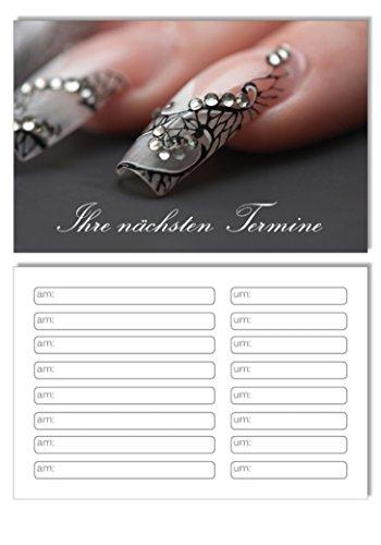 100 Terminkarten / Bestellkarte Nailart Grau Nails Nagelstudio