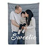 Custom Blanket Personalized Throw Blanket with Photo College Soft Flannel Blanket Customized Souvenirs Gifts for Baby Dad Mom Grandma Grandpa Friends Couple Wedding and Pets (1 Photo, 30x40 Inch)