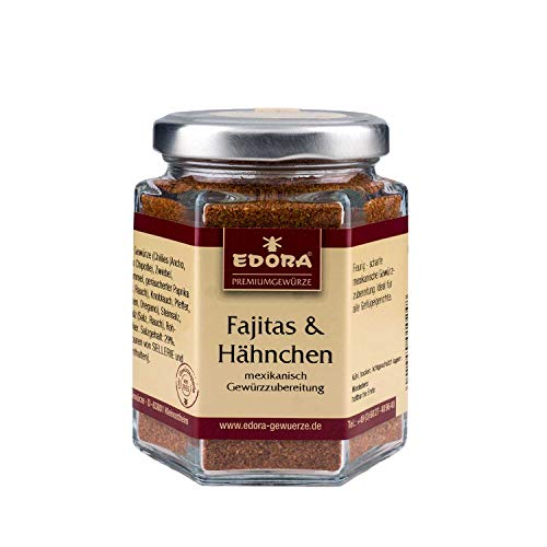 Premium Qualität Gewürz EDORA Schraubglas Fajitas & Hähnchen mexikanische Gewürzzubereitung 105 Gramm