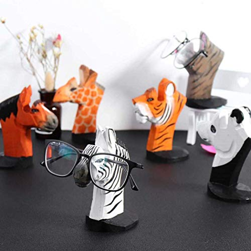 Casecover 1pc 3d Wood Carved Eyeglasses Display Rack, Spectacle Sunglasses Holder Stand Animal Shaped Home Office Desk Decor Gift (random Color)