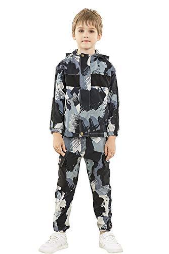 Rolanko 2 Stück Trainingsanzug Kinder Jungen Langarm Outfits Camo Jogginganzug Jacke + Cargohose Bekleidungsset(Lila,146-152)
