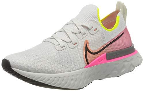 Nike React Infinity Run Flyknit, Zapatillas de Running Mujer, Gris (Platinum Tint/Black-Pink Blast 004), 42 EU