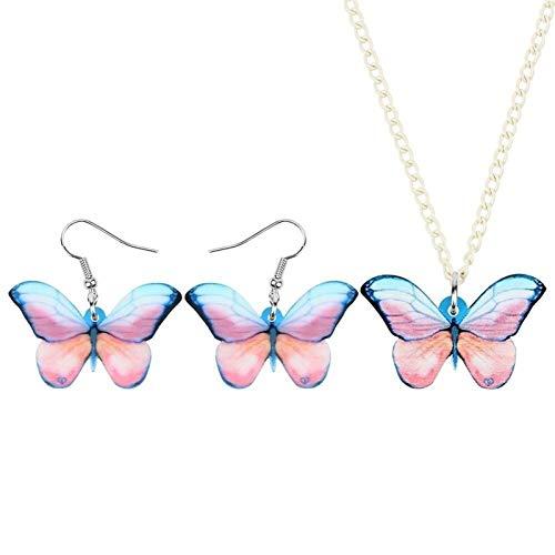 Xx101 Acrílico Rosa Cepillo De Patas Sistemas De La Joyería De La Mariposa Animales Insectos Pendientes Collar For Las Mujeres Niñas Adolescentes Charm Regalo Nixx0 (Color : Pink)
