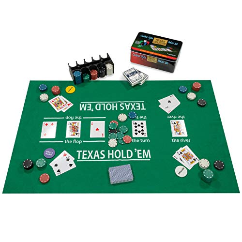 Nexos Poker Starter-Set Pokerset mit 200 Chips in Geschenk-Box aus Metall inkl. Spielmatte 2 Decks Pokerkarten Dealer Button Small Blind Big Blind Chiptray