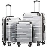COOLIFE Hartschalen-Koffer Rollkoffer Reisekoffer Vergrößerbares Gepäck (Nur Großer Koffer...